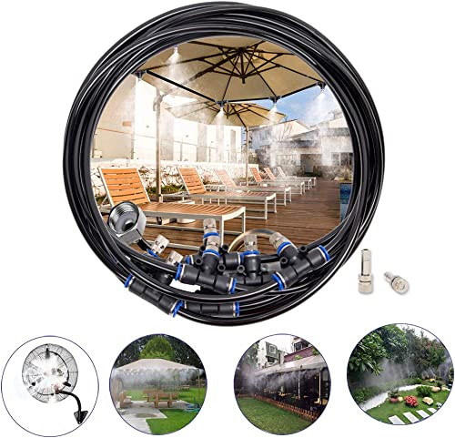 Misting Cooling System,60ft 18M Misting Line 15 Stainless Steel Mist Nozzles 15 Connector Outdoor Cool Mister for Patio Garden Umbrellas Greenhouse Fan Trampoline Waterpark