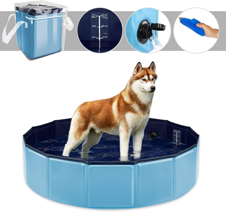 YAOBLUESEA Piscina para Perros, 80x20CM Piscina para Perros Piscina Plegable para Mascotas - Pequeño/Azul