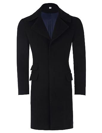 368c2df3db51 Men's Wool Jacket Overcoat Trench Coat Buttoned Jacket Windbreaker Black S  PJ0039-1