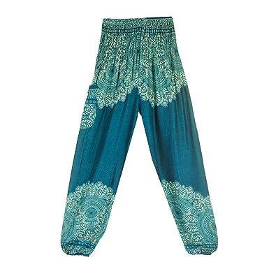 Sunenjoy Femme Yoga Pantalon Taille Haute Hippy Smock Fluide Culotte Bouffant  Elastique Aladin Harem Bohême Imprimé 55c42c478f5