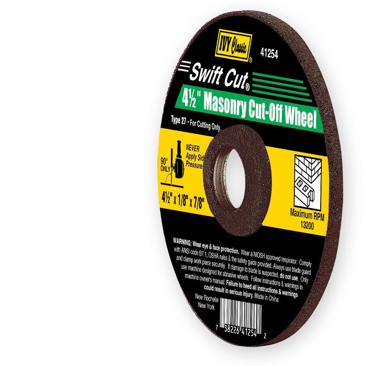 IVY Classic 41254 Swift Cut 4-1//2-Inch x 1//8-Inch x 7//8-Inch Arbor 1-Piece Masonry Depressed Center Wheel for Grinders