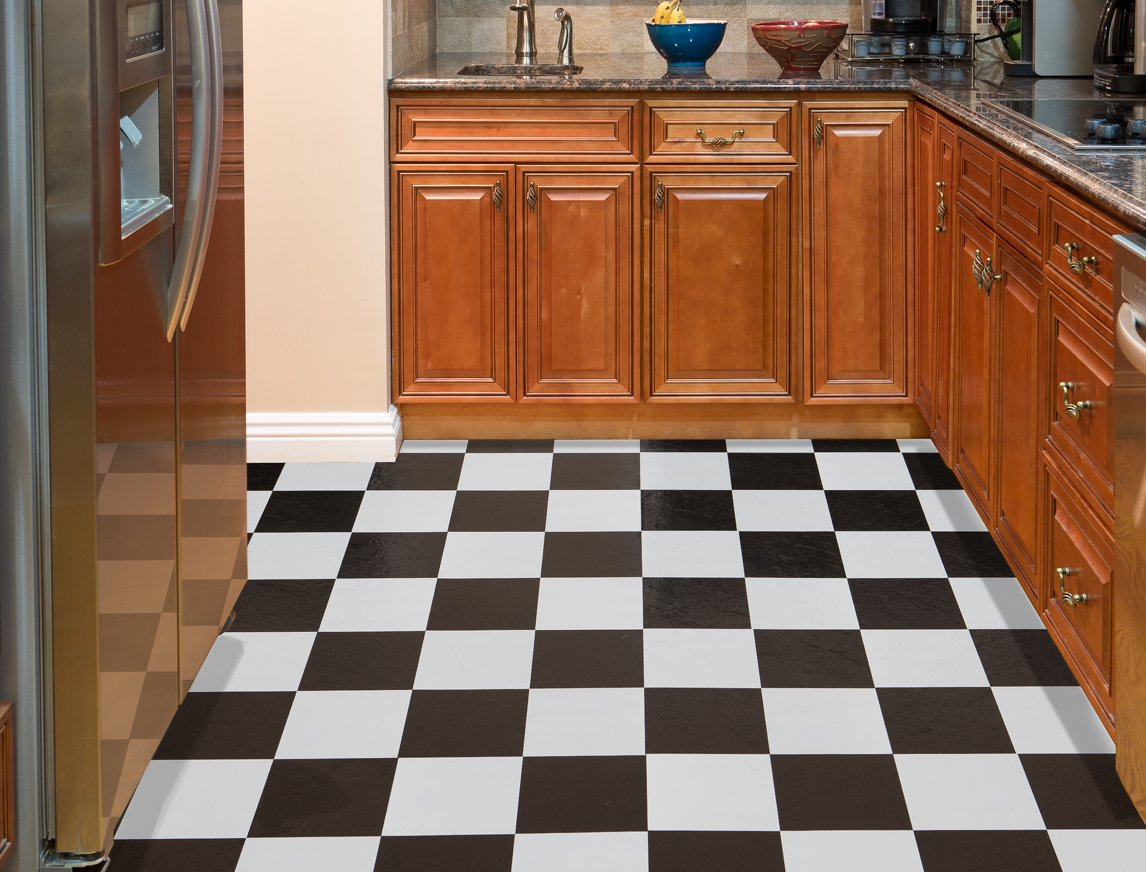 Achim home furnishings ftvso10320 nexus 12 inch vinyl tile solid achim home furnishings ftvso10320 nexus 12 inch vinyl tile solid black and white pack of 20 vinyl floor coverings amazon dailygadgetfo Choice Image