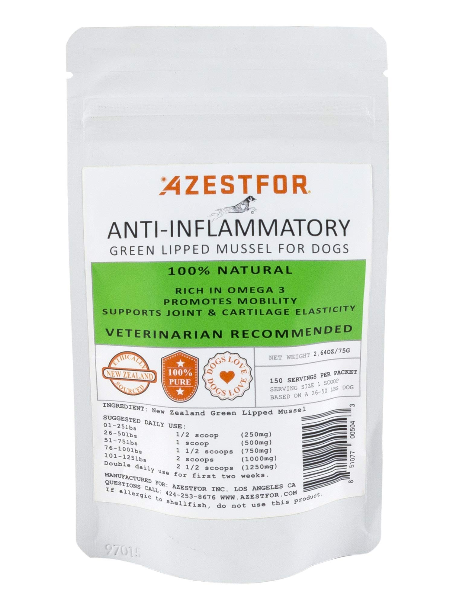 Azestfor Anti-Inflammatory Green Lipped Mussel for Dogs by Azestfor