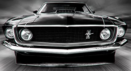 Amazon Com Ford Mustang Black White Muscle Car Poster 20x30