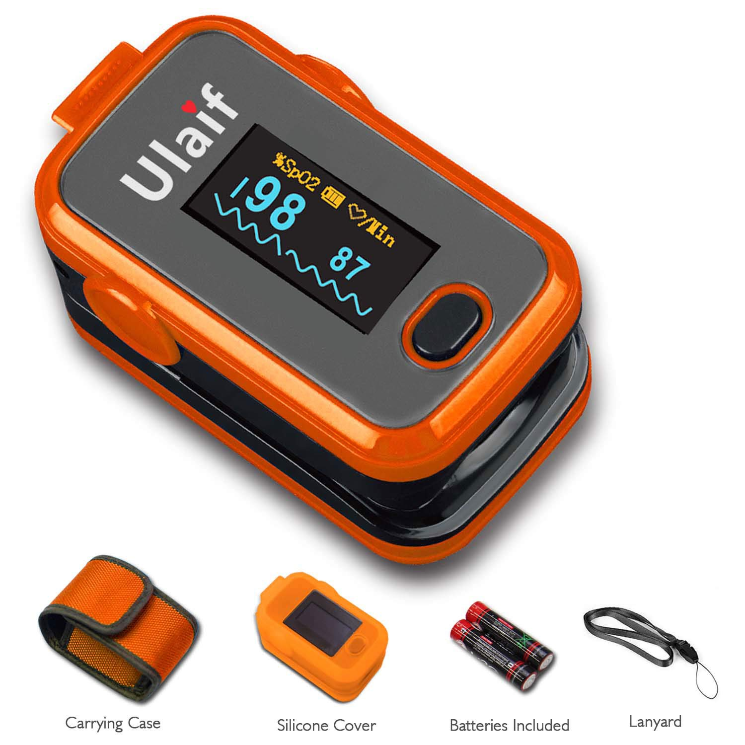 Ulaif Fingertip Pulse Oximeter with OLED Display Portable Oximetry Blood Oxygen Saturation Monitor SpO2 Finger Pulse Oximeter Readings with Carrying Case Silicon Case Lanyard and Batteries