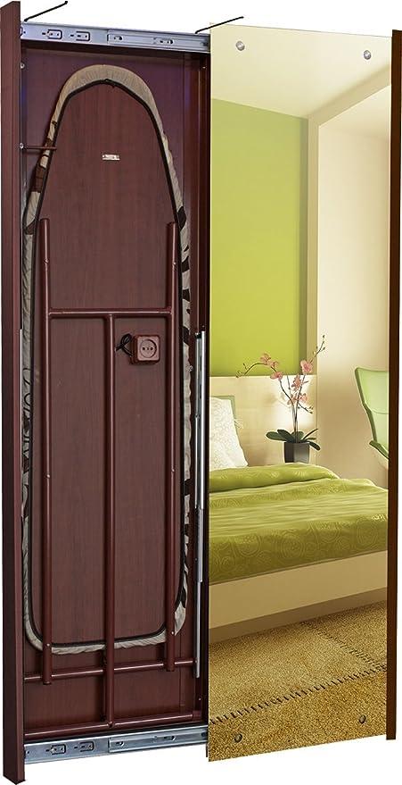 Espejo/tabla de planchar con puerta corredera, color nogal, cerezo, color wengué o roble, medidas B500 X h1670 X T65, Verona, cereza, Schiebetür nach rechts: Amazon.es: Hogar