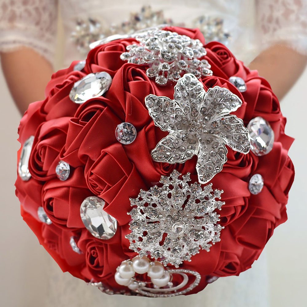 Prettybuy Handmade Diamond Pearl Rhinestone Brooch Bridal Hold Flowers Wedding Bouquet Satin Roses Bouquet for Photo Shooting, Valentine's Day, Proposal, Birthday and Special Day Gift (CREYSTAL ROSE) Valentine's Day