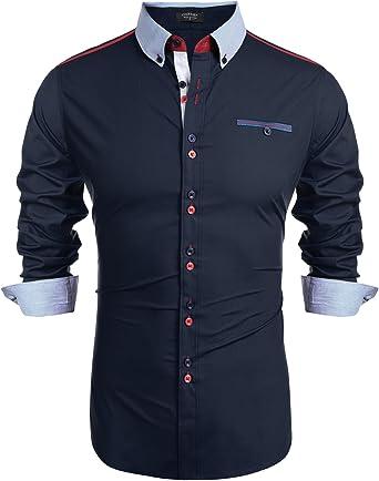 COOFANDY Camisa de manga larga para hombre, corte regular, cuello Kent, tira de botones de mezcla de algodón, camisa monocromática para hombre