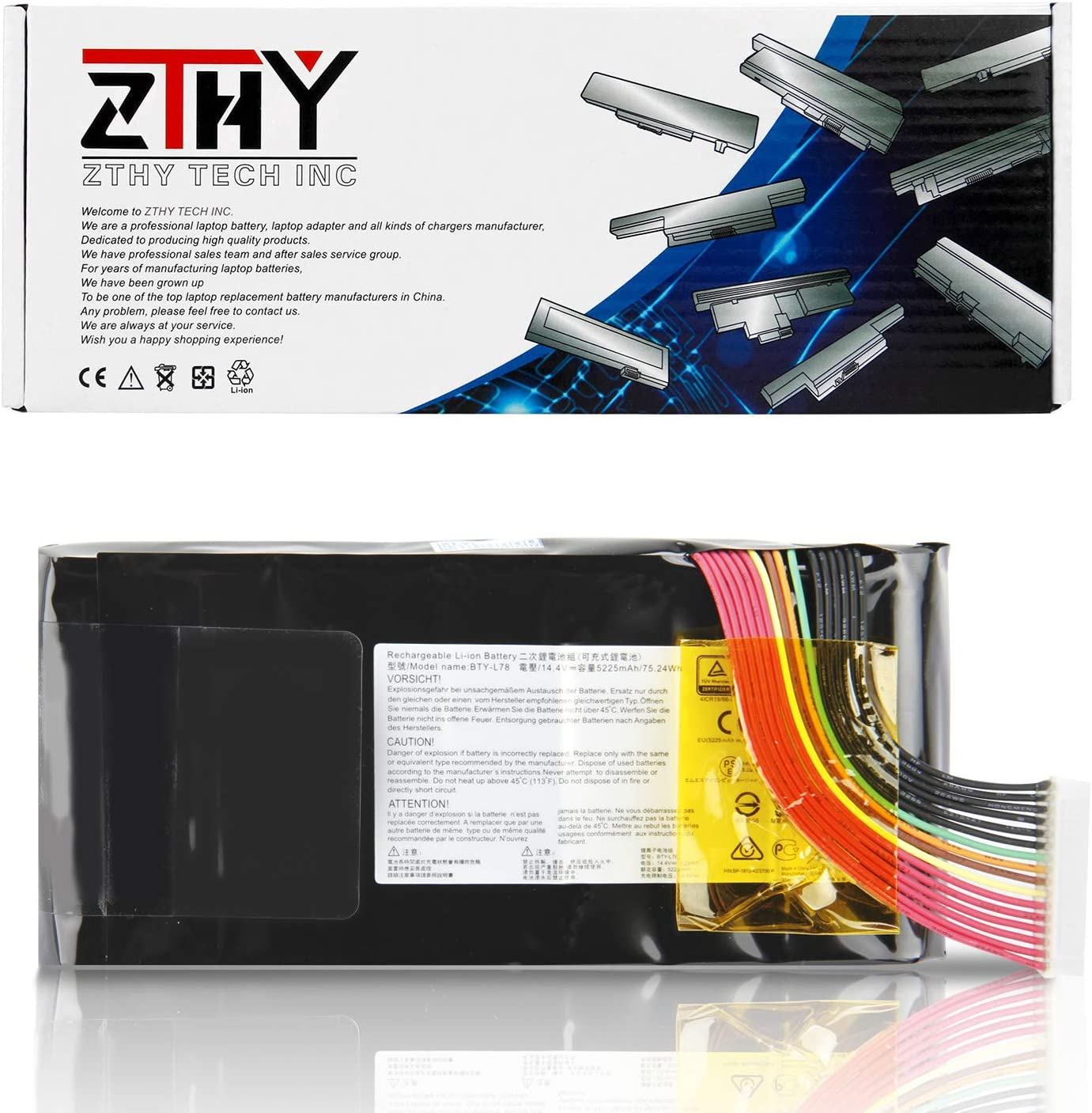 ZTHY New BTY-L78 Laptop Battery for MSI GT62VR 6RD 6RD-033CN 6RD-093XCN GT73 GT73VR 6RE-013CN GT80 2QC-221CN GT62VR 7RD Dominator Titan GT80S GT83 GT83VR GT83 GT83VR 6RE-007CN 14.4V 75.24Wh