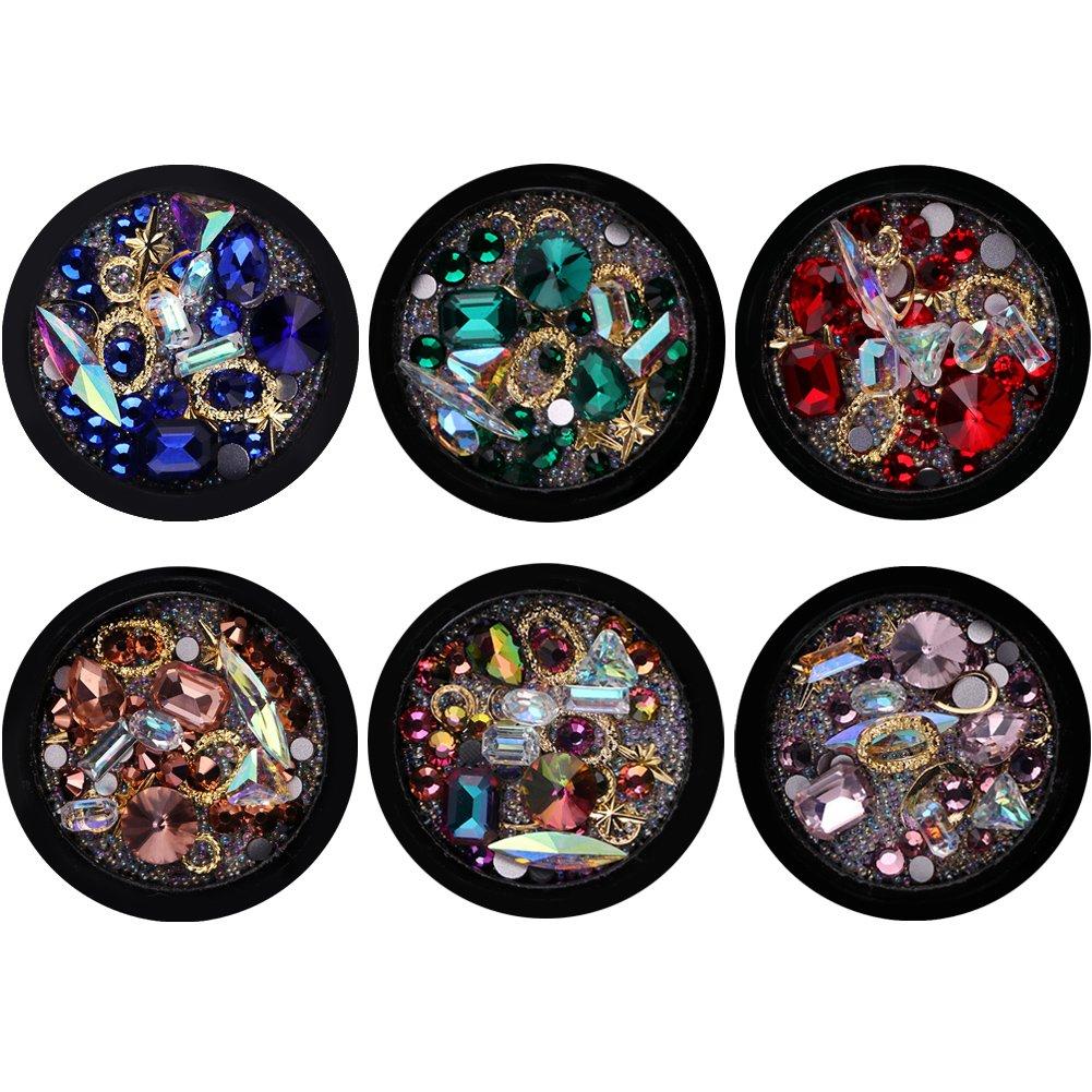 YuJun's 6 Boîtes 3D DIY Nail Art Gems Diamant Décoration YuJun' s