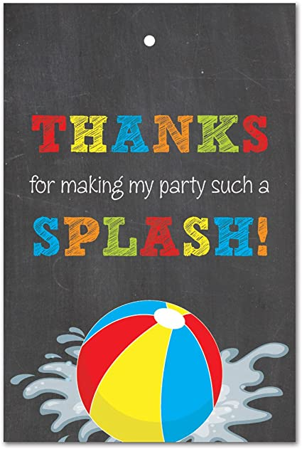 Pool Party Picture Thank You Card Beach Ball Polka Dot Colorful 1st Birthday Baby Shower Printable Digital File