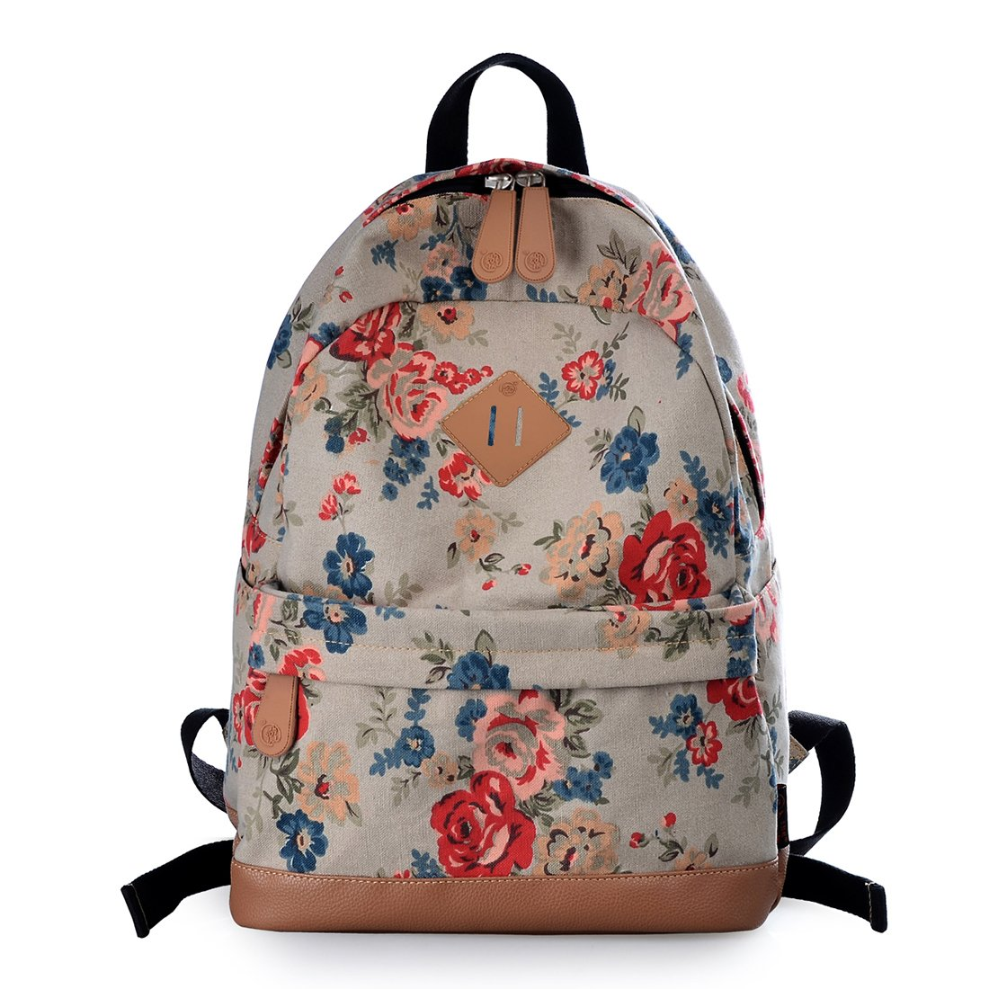 a5cead703d Amazon.com  Epokris Girls Fashion Floral School Student Canvas Bag Backpack  133B (Khaki-2)  Toys   Games