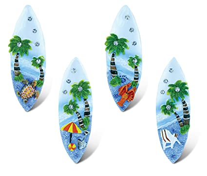 Puzzled Surfboard Refrigerator Blue Sand Magnet - Beach Theme - Set of 4 - Unique Affordable