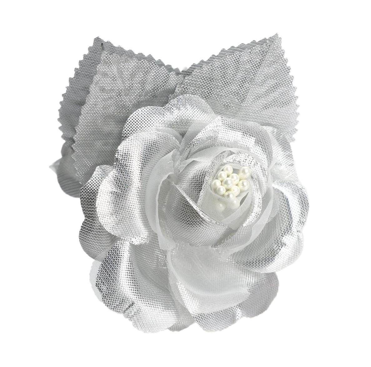 12-Silk-Roses-Wedding-Favor-Flower-Corsage-Pick-Silver
