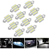 MicTuning  MIC-FS3112 31mm-12SMD 3528 LED White Festoon Interior Car Lamp Bulbs, 10pcs