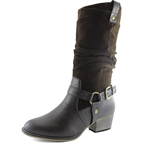 563780f1ff8 DailyShoes Women's Slouch Mid Calf Ankle Strap Buckle Western-01 Style  Cowboy Boots