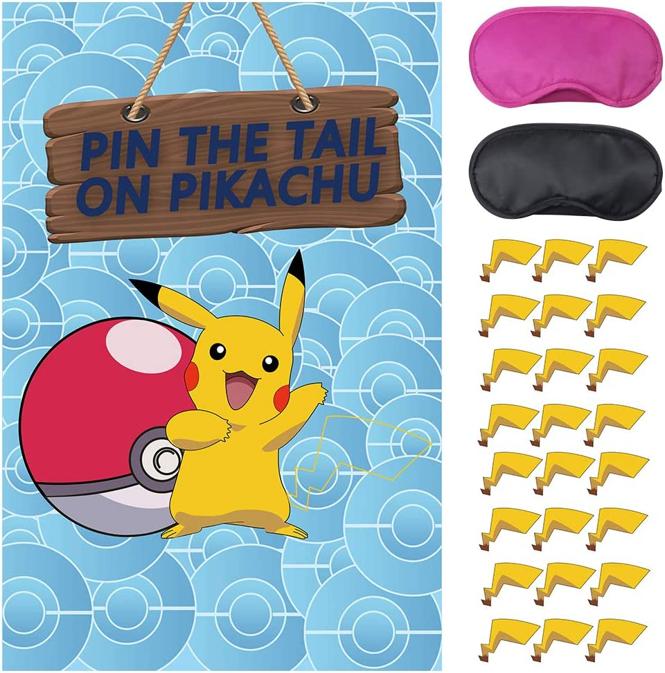 Video Game Party Supplies,Pin The Tail on Game,Cartoon Game Party Games,Large Poster wiht 24PCS Tails Stickers for Kid' Party Decorations