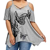Camisetas Mujer Tallas Grandes,Camiseta de Mujer de Gran tamaño de la impresión de la…