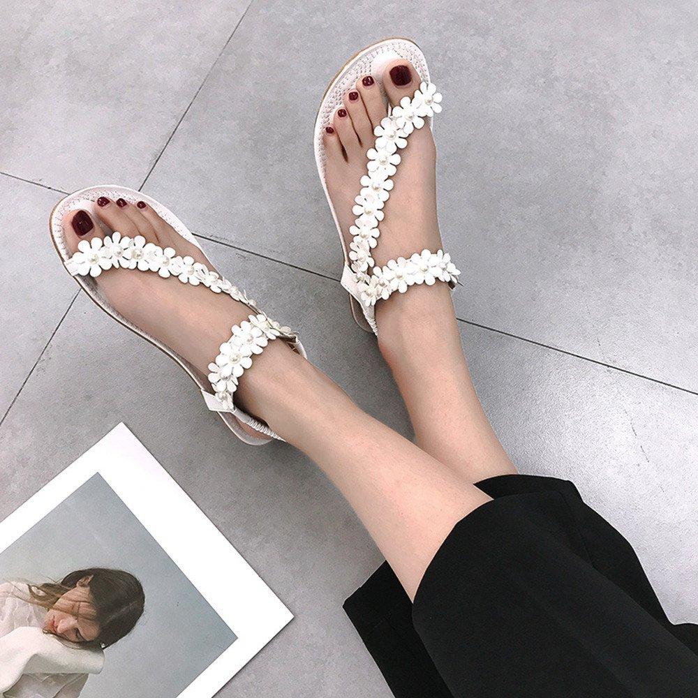 LianMengMVP 2018 Eleganti Donna Bassi Moda Sandali Sandali Donna Estate Bassi con Perline Bohemian Modello con Infradito Scarpe da Danza da Donna