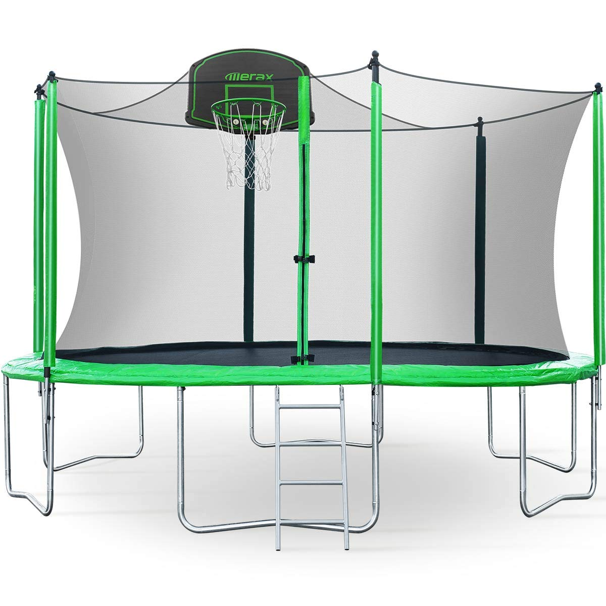 Merax 12FT Trampoline with Safety Enclosure Net, Basketball Hoop and Ladder, Trampoline for Kids (Green 12FT) by Merax