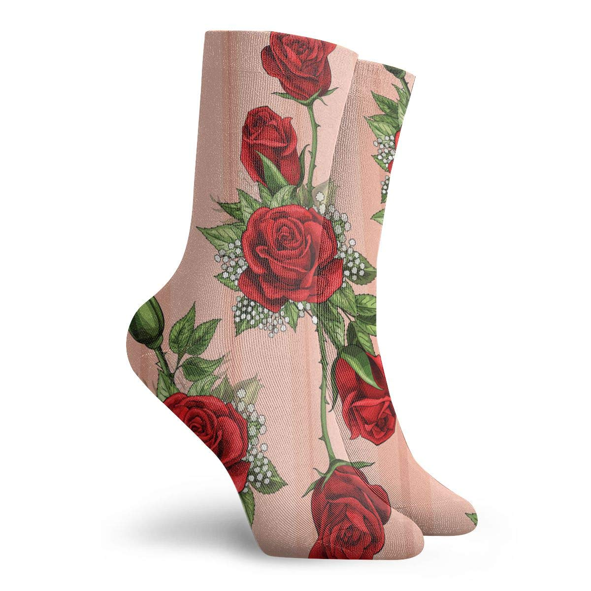 SARA NELL Novelty Funny Crazy Crew Sock Red Rose Flower Bouquet Spreads Creeper Elements Printed Sport Athletic Socks 30cm Long Personalized Gift Socks