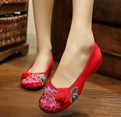 KAFEI Frauen Leinwand Stickerei Tanz chinesische Schuhe erhöhen Sehne unten täglich, 40, Rot