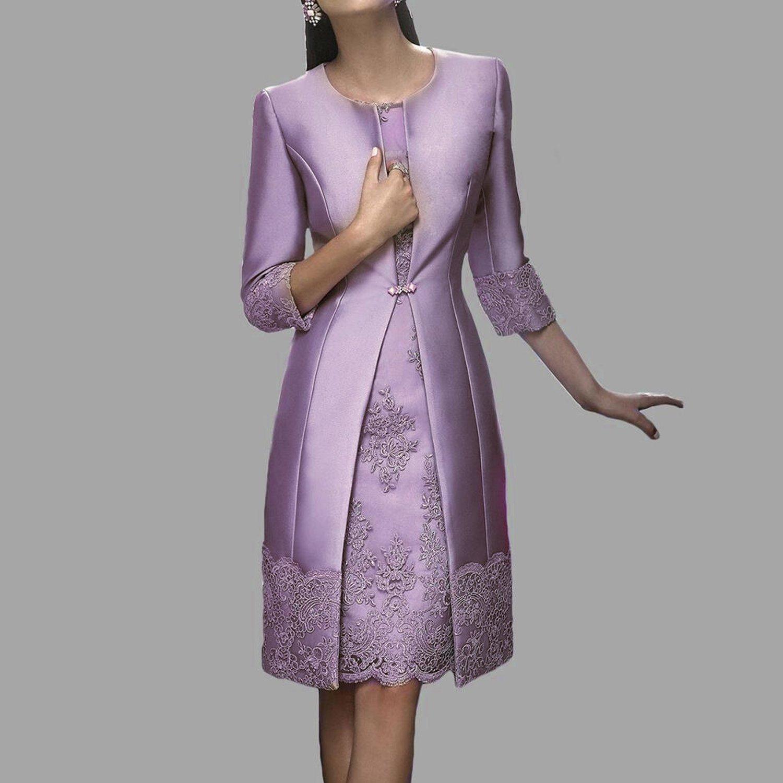 Dressvip 2 pièces de longueur à genoux en dentelle satiné femmes robes de  bal avec une longue veste (32, violet)  Amazon.fr  Vêtements et accessoires ef0ee2c4bb76