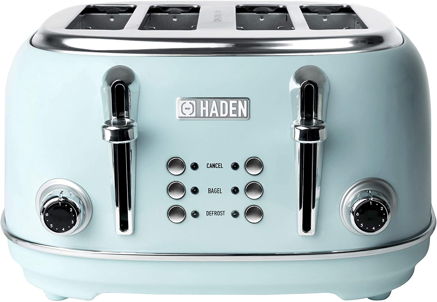 Haden HERITAGE 4-Slice, Wide Slot Retro Toaster with Browning Control, Cancel, and Defrost Settings in Light Blue Turquoise