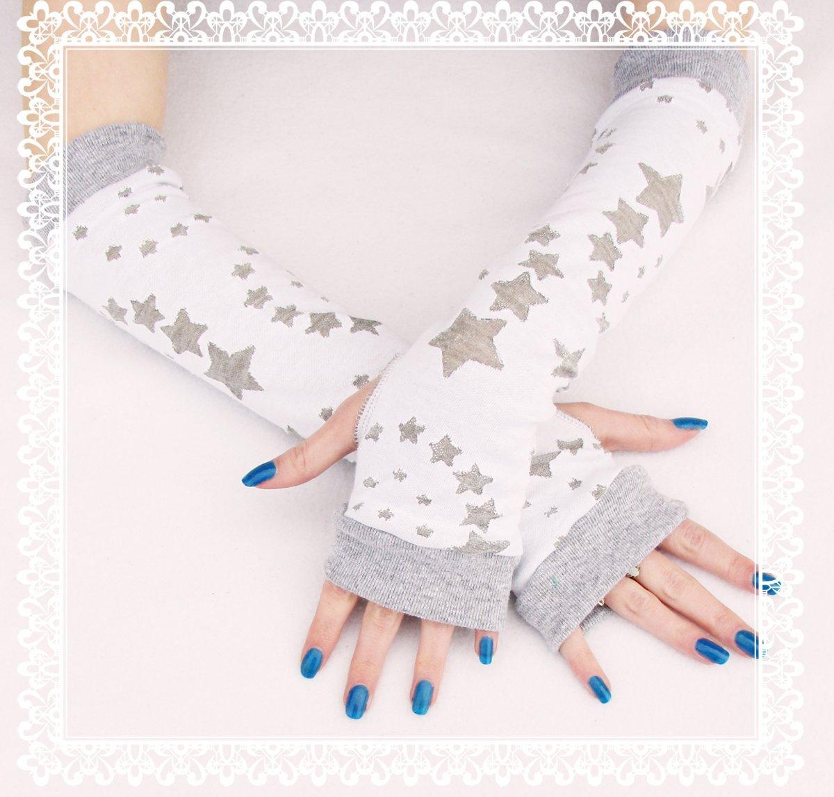 Winter Stars Arm Warmers White Gray Fingerless Gloves Frozen Snow