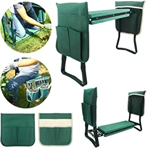 Garden Kneeler and Seat - Multifunctional and Foldable Bench Tool with 2 Large Pouches for Gardening