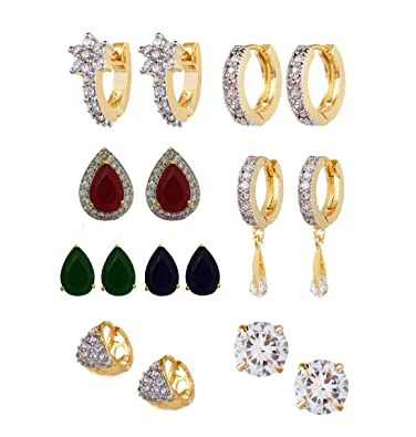 17bc12f34 YouBella Golden Plated Hoop Earrings for Women (Multi-Colour)(YBECB_15):  Amazon.in: Jewellery