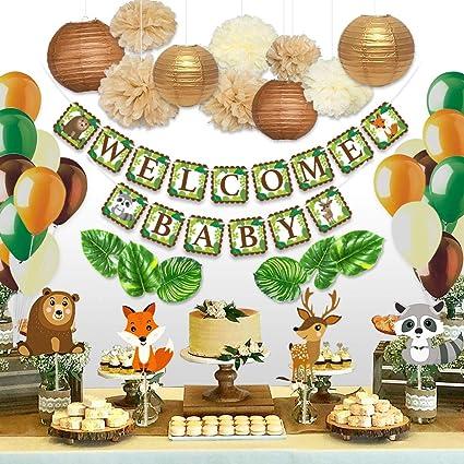 Decoracion De Baby Shower De Animales.Amazon Com Sweet Baby Co Woodland Baby Shower Decoraciones