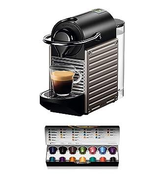 Nespresso Krups Pixie XN304T - Cafetera monodosis de cápsulas Nespresso, 19 bares, apagado automático, color gris titanio