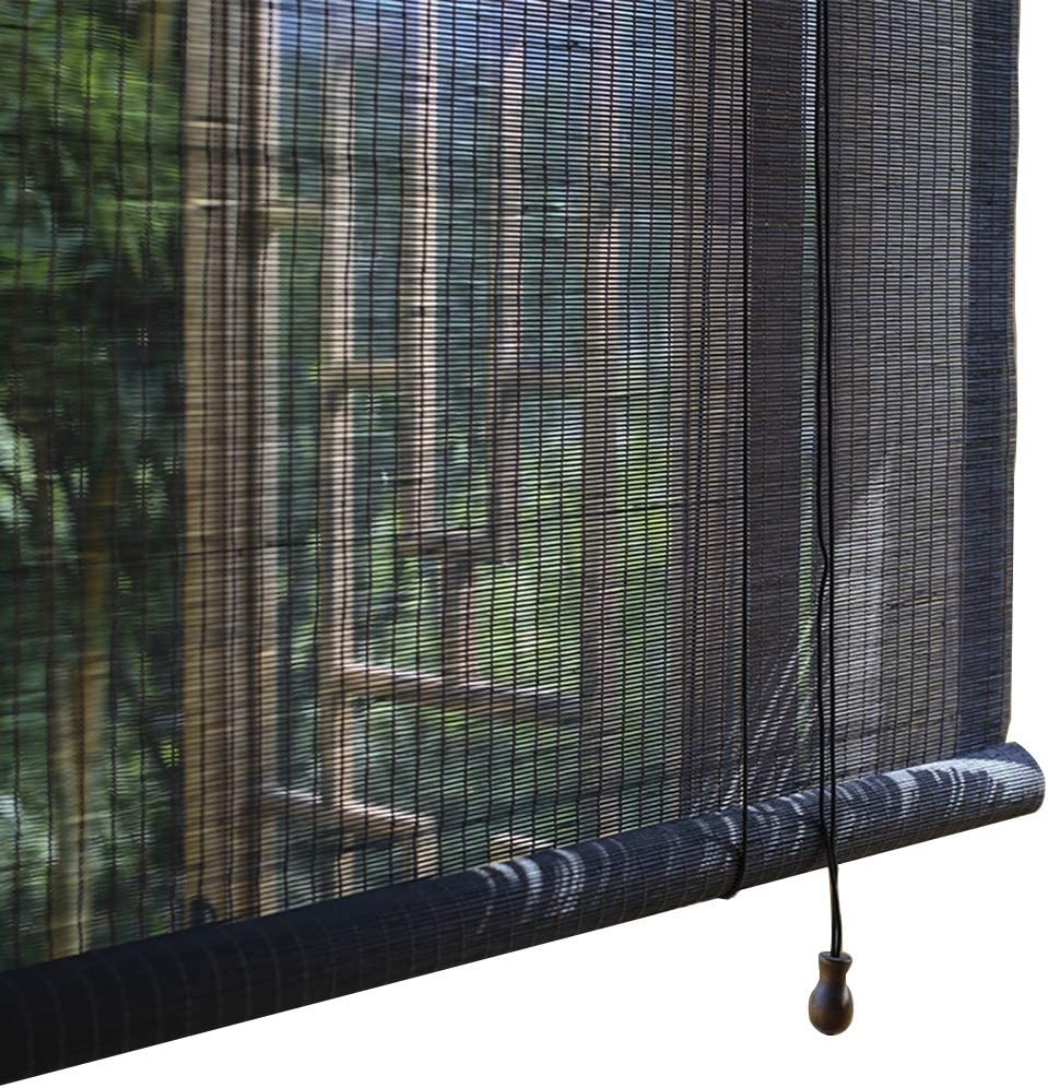 JLXJ Hogar y Cocina Persianas Enrollables de Bambú, Negro Filtro Solar Filtro de Luz Persianas Enrollables para Salón de Té Puertas Corredizas Puertas Francesas (Color : W×H, Size : 60 × 180cm)