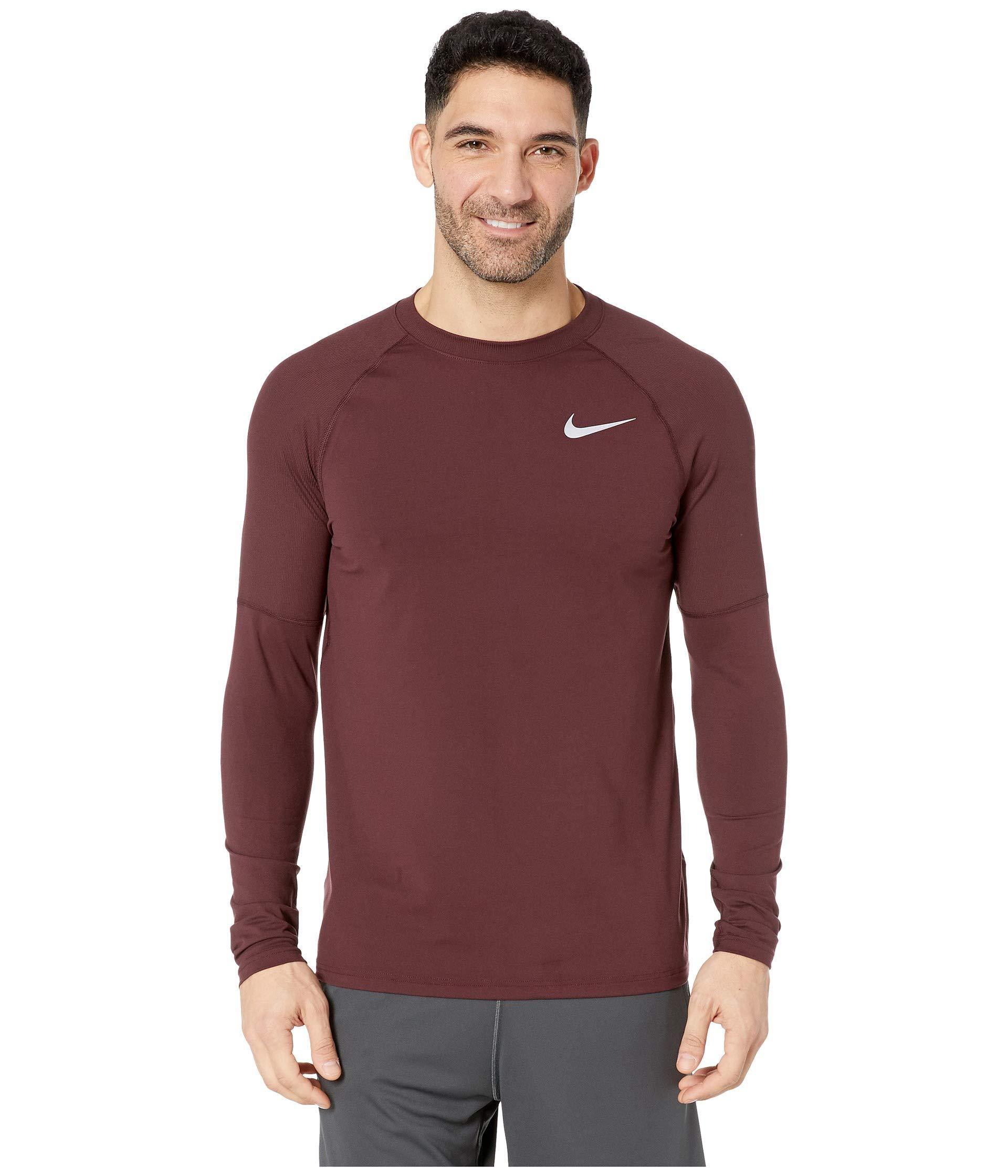 Nike Men's Element Crew Running Long Sleeve Tee (Burgundy Crush, XX-Large)