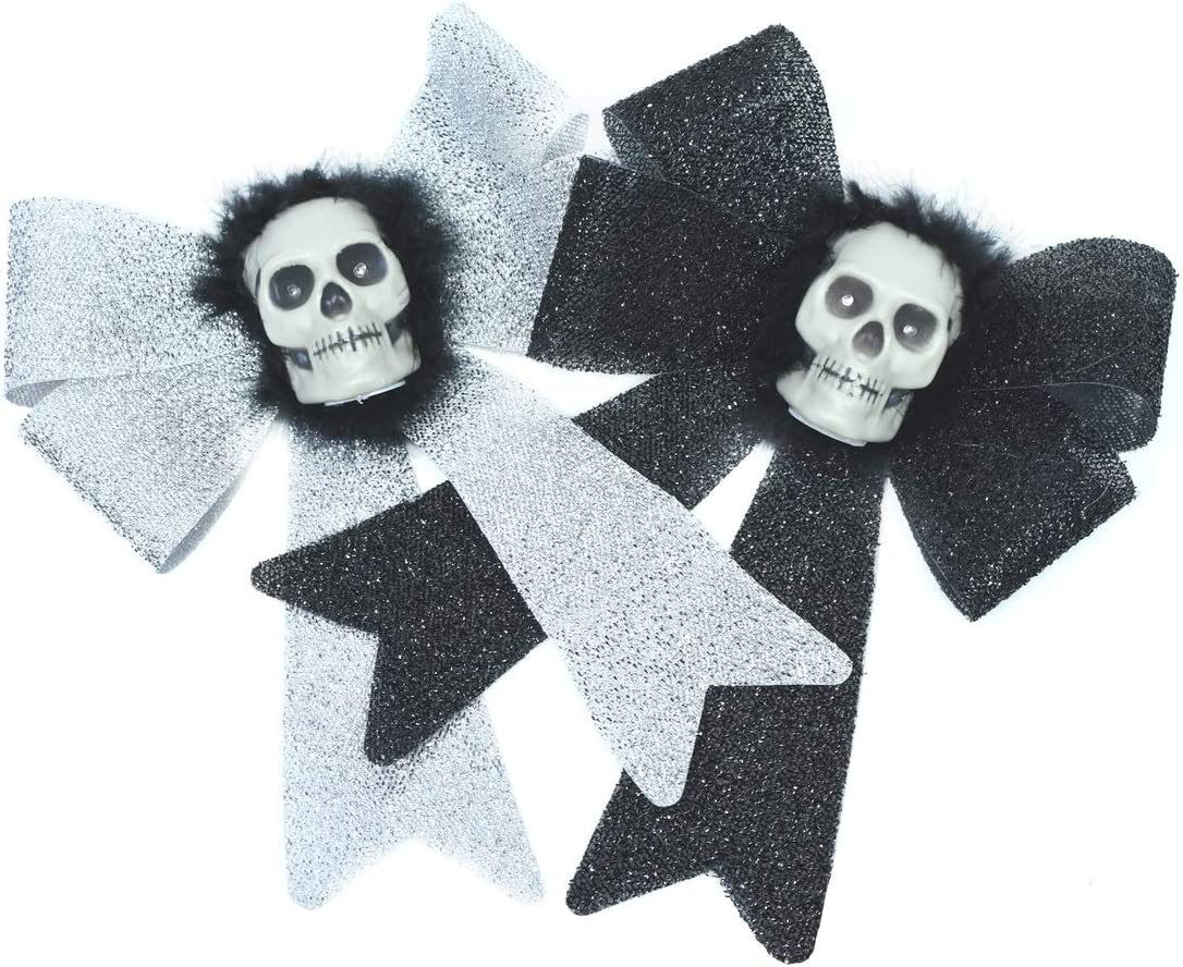 TG,LLC Treasure Gurus Set 2 Silver Black Glitter LED Light Up Skull Wreath Bows Haunted House Halloween Party Decor Prop