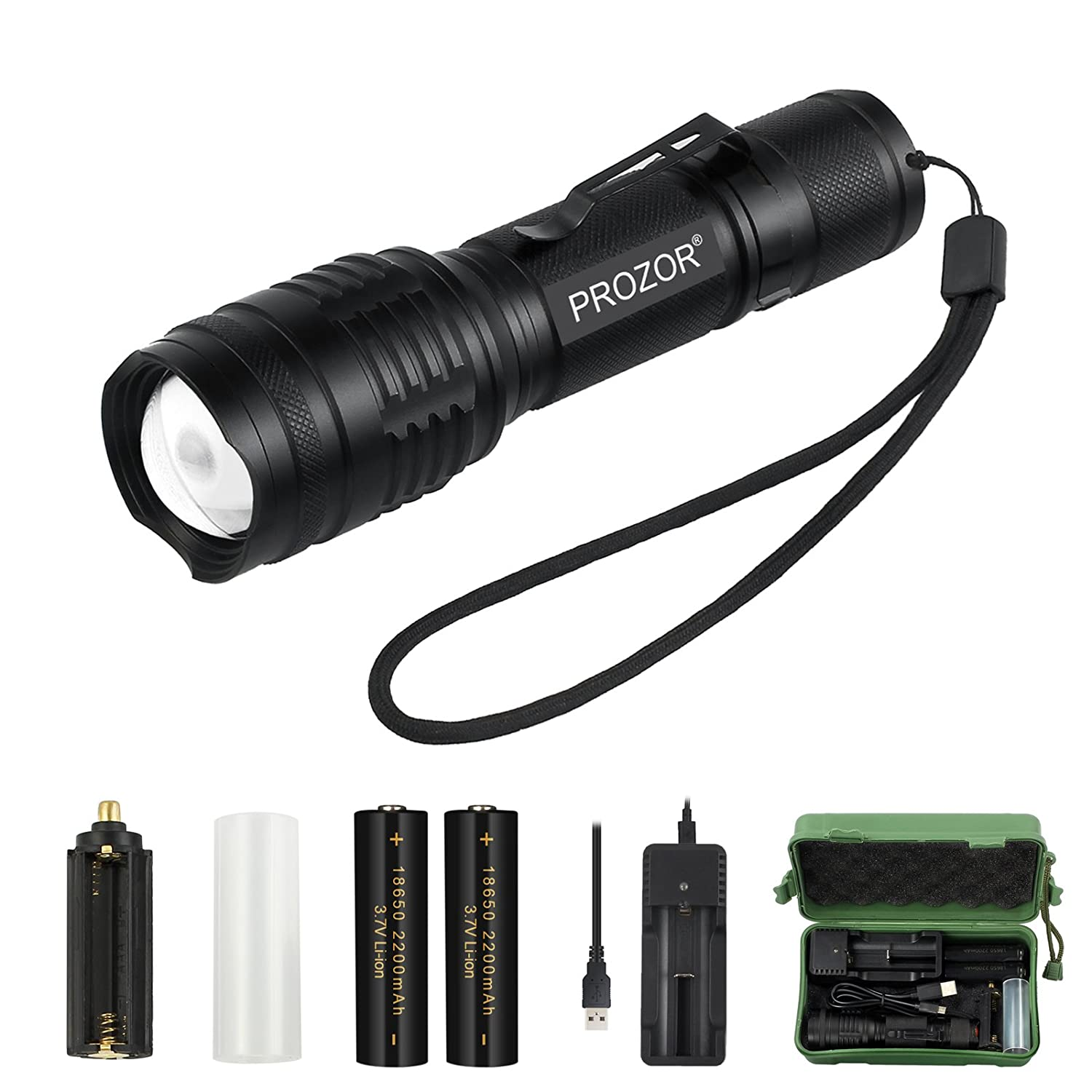 T6 LED 8000 LM Mini USB Charging Flashlight Zoomable Torch 3 Modes Light FT