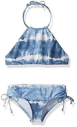 64593a589f133 Billabong Little Girls' Lil Bliss High Neck Two Piece Swimsuit Set,  Seashell, ...
