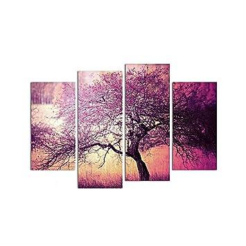 Set De 4pcs Tableau Peinture Toile Darbre Violet Art Décor Pour