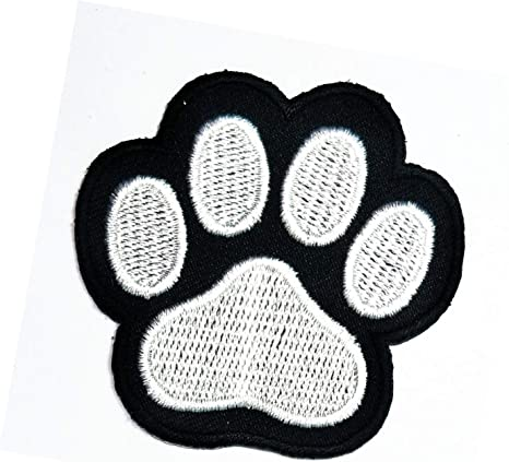 Paw white Embroidered PATCH//BADGE