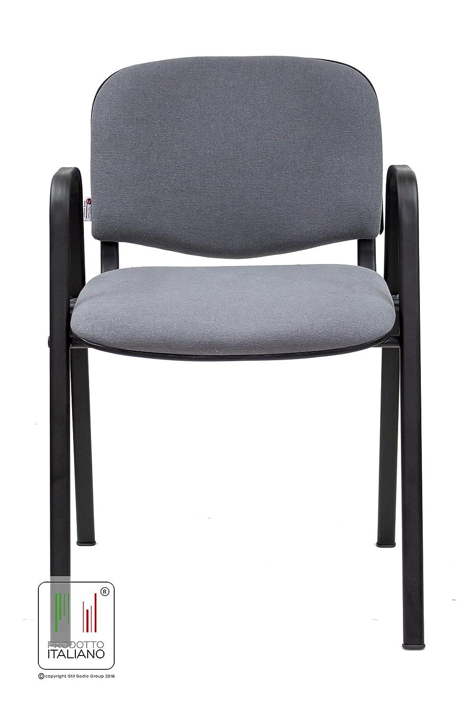 Stil Sedie - Sedia da attesa e visitatore conferenza con braccioli modello ISO (Blu) Stil Sedie Group