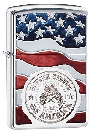 Zippo Americano Bandera de Sello en Resistente al Viento más Ligero - Alto Cromo Pulido: Amazon.es: Deportes y aire libre