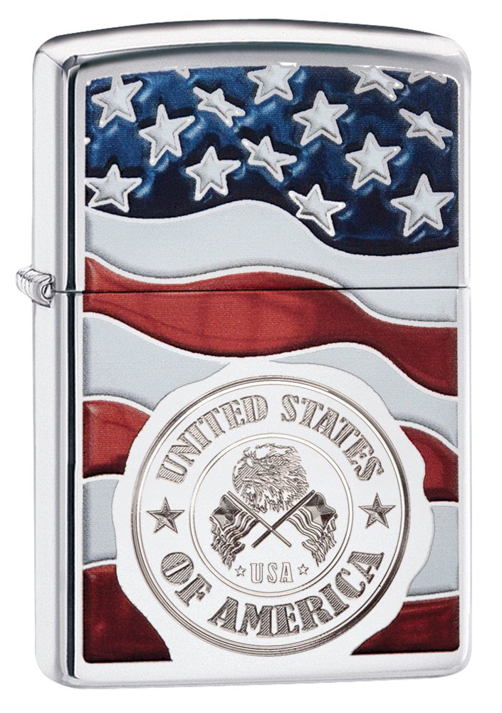 Zippo America Stamp on Flag Pocket Lighter, High Polish Chrome