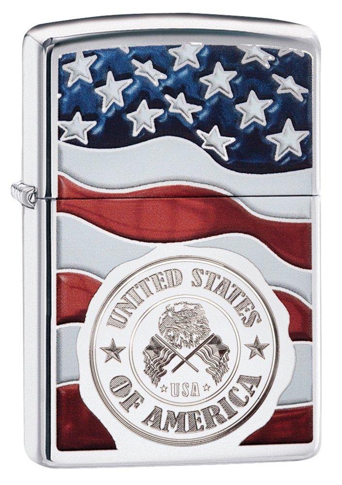 Zippo America Stamp on Flag Pocket Lighter, High Polish Chrome by Zippo (Image #1)