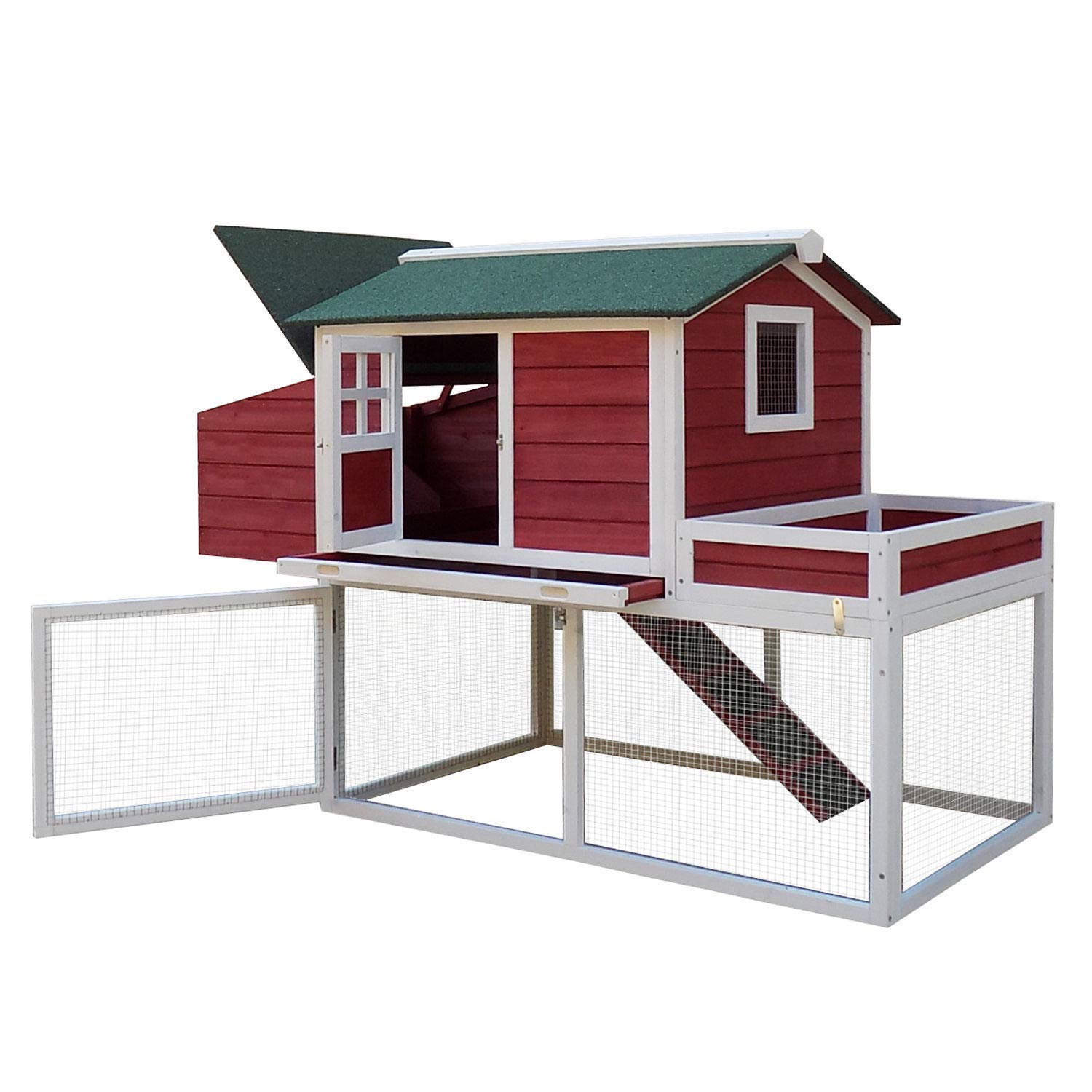 GraceShop House of Chicken Chicken Coop Wooden Poultry Hen Hutch House Nesting Cage Box 63''