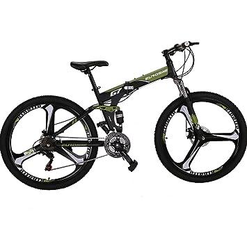 Amazon.com: EUROBIKE Bicicleta plegable de 21 velocidades de ...