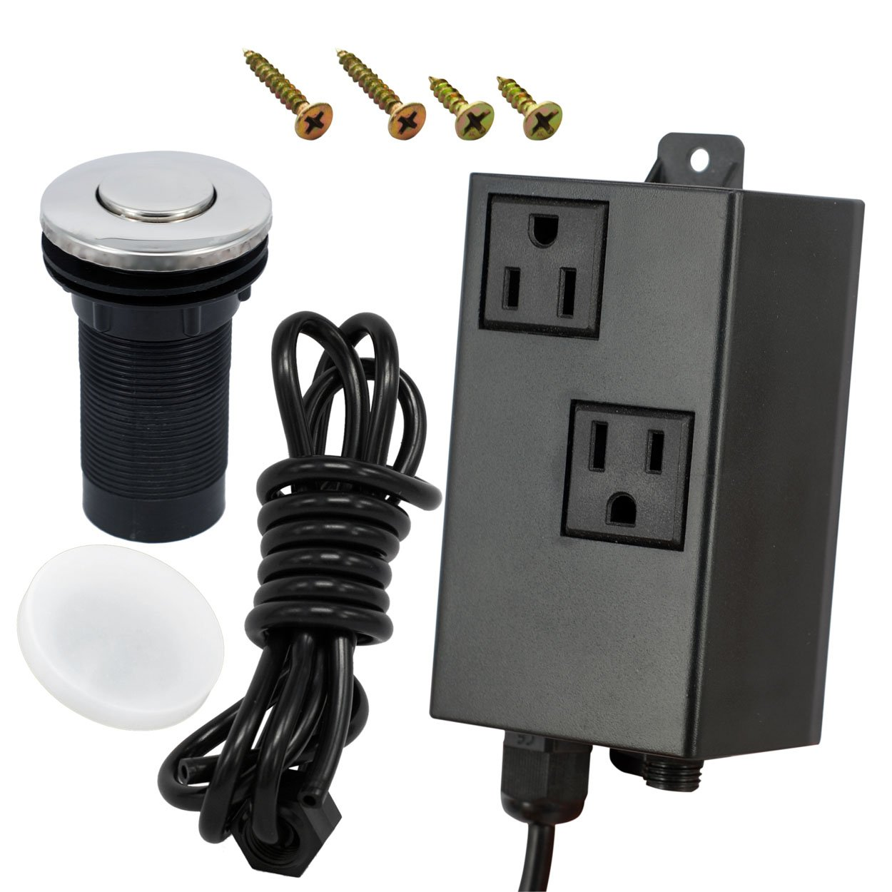 DIKOO Dual Outlet Garbage Disposal Air Switch Kit Sink Top Waste Disposal On/Off Switch Kit Food and Waste Disposals Part by DIKOO
