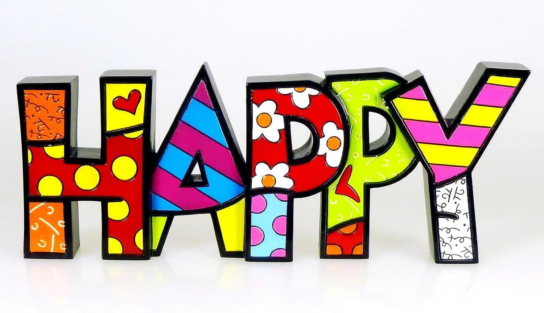 Gift Craft Romero Britto Happy Letters Word Pop Art Figurine