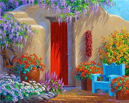 Pintar Por Números Jardín Exterior - Diy Pintura Al Óleo Digital Pintura Acrílica Set Niños Adultos Decoración Del Hogar Sin Marco 16x20 Pulgadas: Amazon.es: Hogar