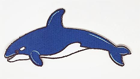 Parche bordado para coser o planchar con dibujos de peces del mar de ballena, hecho